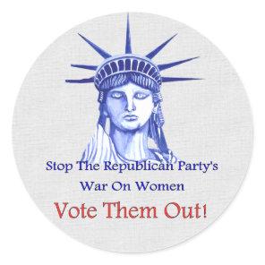 Stop The War On Women Classic Round Sticker