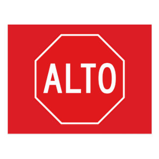 Stop, Traffic Sign, Mexico Postcard