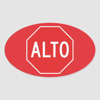 Stop, Traffic Sign, Mexico Oval Sticker