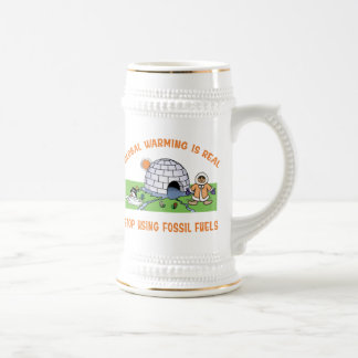 Stop Using Fossil Fuels Beer Stein