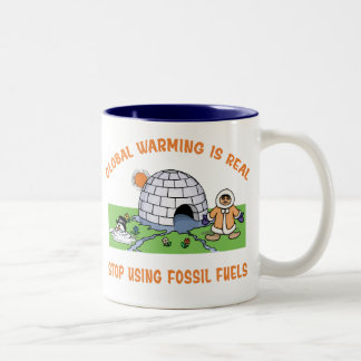 Stop Using Fossil Fuels Two-Tone Coffee Mug