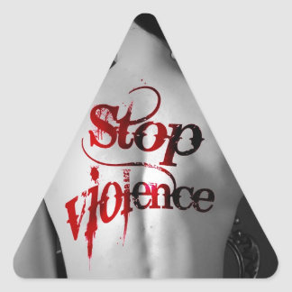 Stop Vialence woman tattoo Triangle Sticker