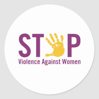 Stop Violence against Women Classic Round Sticker