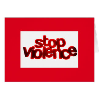 STOP VIOLENCE CAUSES BLOOD RED ABUSE CARDS