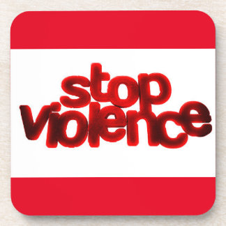 STOP VIOLENCE CAUSES BLOOD RED ABUSE COASTERS