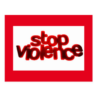 STOP VIOLENCE CAUSES BLOOD RED ABUSE POST CARD