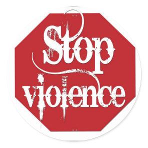Stop Violence Classic Round Sticker