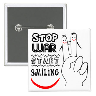 Stop War Big Smile Two Finger Peace Symbol 2 Inch Square Button