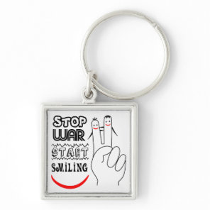 Stop War Big Smile Two Finger Peace Symbol Keychain
