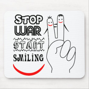 Stop War Big Smile Two Finger Peace Symbol Mouse Pad