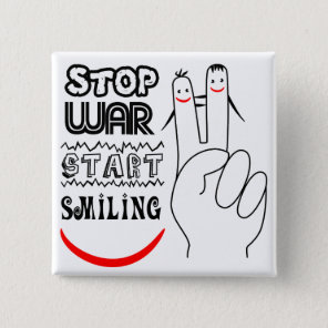 Stop War Big Smile Two Finger Peace Symbol Pinback Button