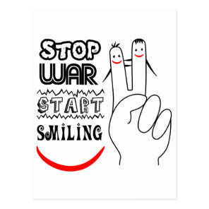 Stop War Big Smile Two Finger Peace Symbol Postcard
