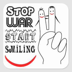 Stop War Big Smile Two Finger Peace Symbol Square Sticker