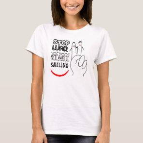 Stop War Big Smile Two Finger Peace Symbol T-Shirt