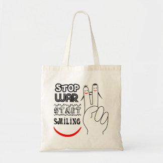 Stop War Big Smile Two Finger Peace Symbol Tote Bag