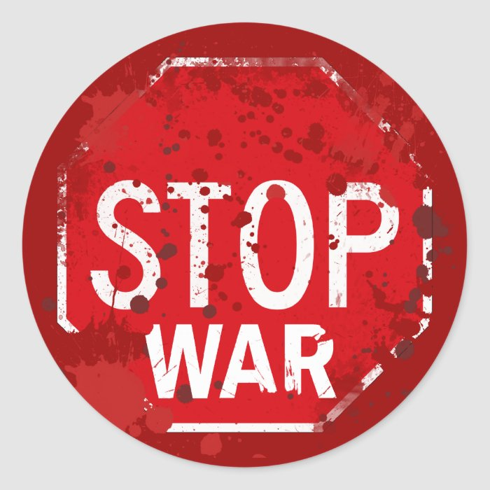 STOP WAR CLASSIC ROUND STICKER