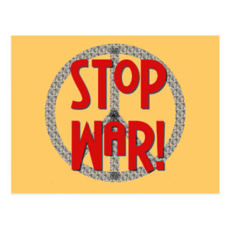 Stop War Peace Symbol T-shirts and Gifts Postcard