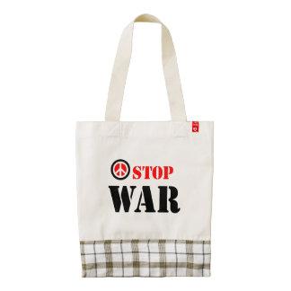 Stop war slogan zazzle HEART tote bag