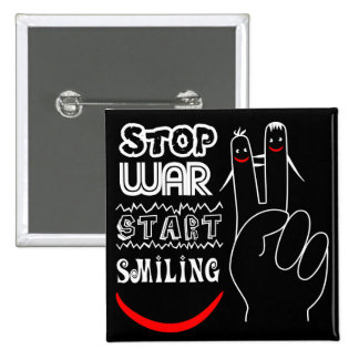 Stop War Start Smiling Peace Sign Funny Drawing 2 Inch Square Button