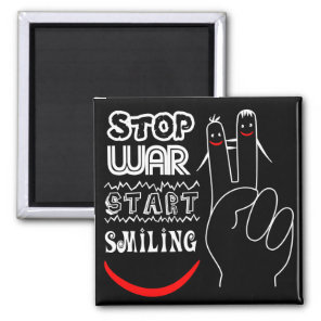 Stop War Start Smiling Peace Sign Funny Drawing Magnet