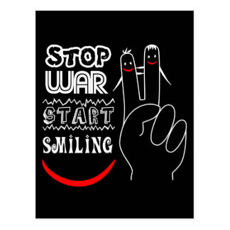 Stop War Start Smiling Peace Sign Funny Drawing Postcard