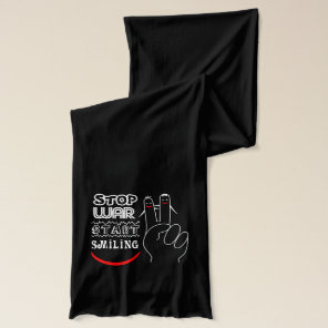 Stop War Start Smiling Peace Sign Funny Drawing Scarf