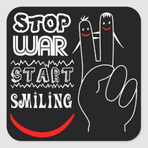 Stop War Start Smiling Peace Sign Funny Drawing Square Sticker