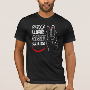 Stop War Start Smiling Peace Sign Funny Drawing T-Shirt