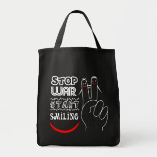 Stop War Start Smiling Peace Sign Funny Drawing Tote Bag