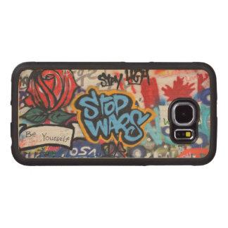 Stop Wars graffiti Wood Phone Case