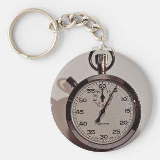 Stop watch basic round button keychain