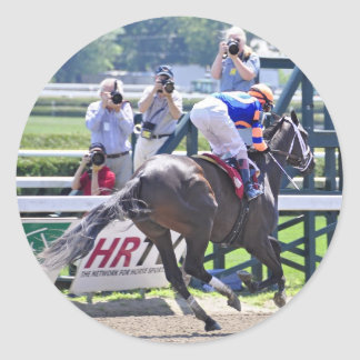 Stopchargingmaria victorious in her first race. round sticker
