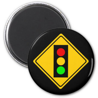Stoplight Ahead 2 Inch Round Magnet