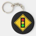 Stoplight Ahead Basic Round Button Keychain
