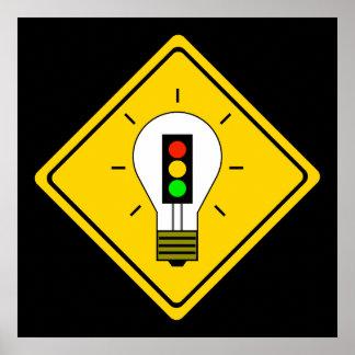 Stoplight Lightbulb Ahead Poster