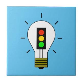 Stoplight Lightbulb Ceramic Tile