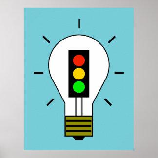 Stoplight Lightbulb Poster