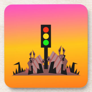 Stoplight with Bunnies, Dreamy Background Beverage Coaster