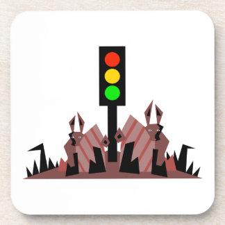 Stoplight with Bunnies Drink Coaster