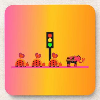Stoplight with Heart Caravan, Dreamy Background Drink Coaster