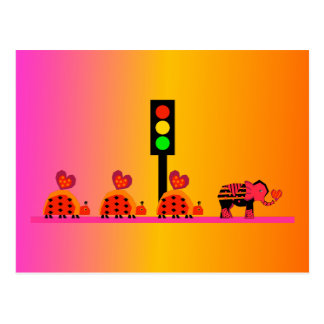 Stoplight with Heart Caravan, Dreamy Background Postcard