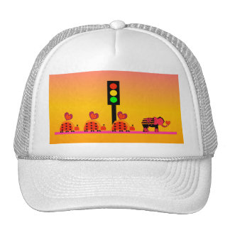 Stoplight with Heart Caravan, Dreamy Background Trucker Hat
