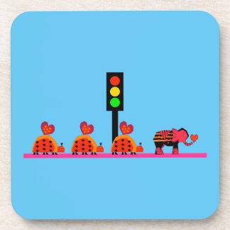 Stoplight with Heart Caravan Drink Coaster