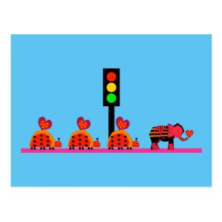 Stoplight with Heart Caravan Postcard