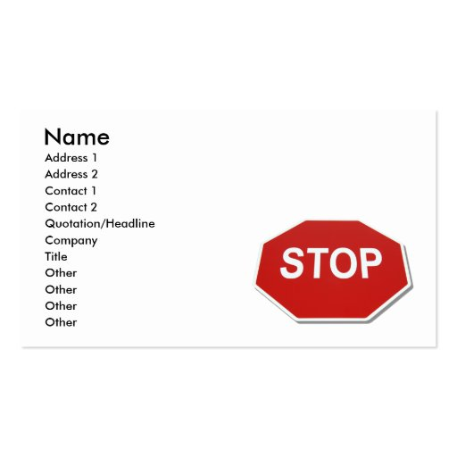 StopSign051409shadows, Name, Address 1, Address... Double-Sided Standard Business Cards (Pack Of 100)