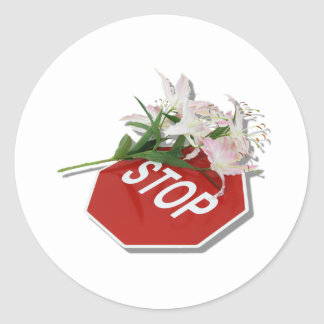 StopSignFlowers051409shadow Round Stickers
