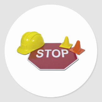 StopSignHardHatSafetyCones091711 Classic Round Sticker