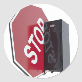 StopSignLocker122312 copy.png Classic Round Sticker