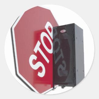 StopSignLocker122312 copy.png Pegatina Redonda