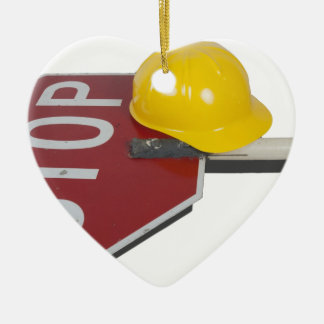 StopSignPoleConstructionHat051913.png Ceramic Ornament